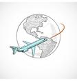 Aircraft icons globe vector image vector image