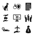 animal protection icons set simple style vector image vector image