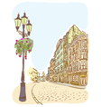 Antique European street Summer city landscape vector image vector image