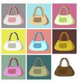 assembly flat icons ladies handbag vector image vector image