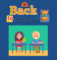 back to school poster with inscription and bag vector image