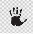 black silhouette of human hand print isolated vector image vector image