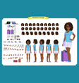 black tourist female vacation traveller vector image