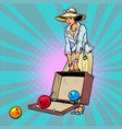 bowling ball woman with suitcase vector image