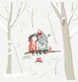 boy plays guitar for a girl in winter forest vector image vector image