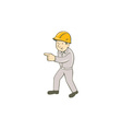 Builder Construction Worker Pointing Cartoon vector image vector image