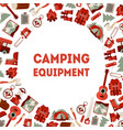 camping equipment banner template hiking tools vector image vector image