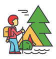camping traveller tourist hiking mountains vector image vector image