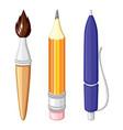 cartoon stationery set vector image vector image