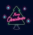 christmas and new year christmas tree neon light vector image