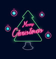 christmas and new year tree neon light vector image