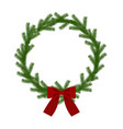 christmas wreath with ribbon vector image