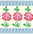 cross stitch embroidery rose floral design vector image vector image