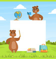 cute brown bears with blank banner and school vector image