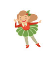 cute christmas elf appy little girl in holiday vector image vector image