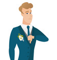 disappointed caucasian groom with thumb down vector image vector image