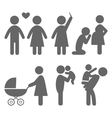 Family and baby flat icons isolated on white vector image vector image