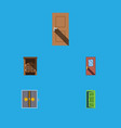 flat icon approach set of door saloon frame and vector image