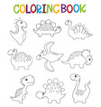 funny cartoon dinosaurs collection coloring book vector image vector image