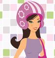 girl in helmet vector image