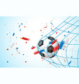 goal concept leather soccer ball on a net vector image vector image