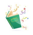 green covered opened book with pages fluttering vector image vector image