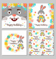 happy birthday collection cards and seamless vector image vector image