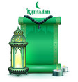 holy month ramadan green scroll vintage lamp and vector image vector image
