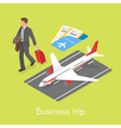 Isometric 3d concept of business trip vector image vector image