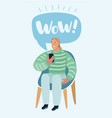 man talking on a mobile sitting on a chair with vector image vector image