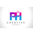 ph p h letter logo with shattered broken blue vector image vector image