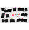 photo frames fixed with sticky tape push pins vector image