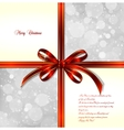 Red bow on a magical Christmas background vector image