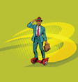 retro businessman on steampunk rocket skateboard vector image vector image