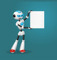 robot holding blank sheet for text on blue back vector image vector image