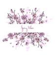 sakura in bloom horizontal banner full color vector image