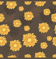seamless pattern with orange daisy flowers vector image