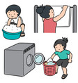 set people washing clothes vector image