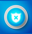 Shield and cross x mark icon on blue background
