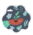 smal plant in human hand on vector image vector image