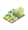 small town block isometric icon vector image vector image
