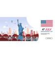 statue liberty over united states landmarks vector image