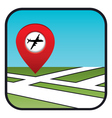 Street map icon with the pointer airport vector image