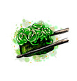 sushi gunkan from a splash watercolor hand vector image