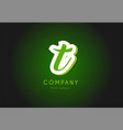 t alphabet letter logo green 3d company icon vector image vector image