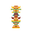 totem pole native cultural tribal symbol vector image vector image