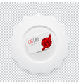 white round plate with gift card on transparent vector image