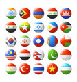 world flags round badges magnets asia vector image