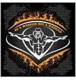 Bodybuilding emblem on dark grunge background vector image