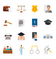 law icon flat set with lawyer jail court jury vector image